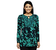 Susan Graver Liquid Knit Printed Tunic with Beaded Keyhole Detail - A237684