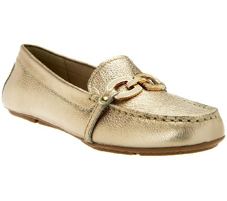 Isaac Mizrahi Live! Leather Moccasins with Enamel Links