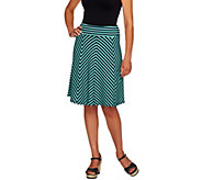George Simonton Petite Crepe Knit Striped Skirt w/ Panels - A253684
