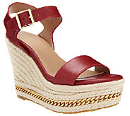 G.I.L.I. Leather Espadrille Wedge Sandals - Soho - A254584
