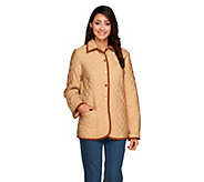 Joan Rivers Quilted Barn Jacket with Corduroy Detail - A255184
