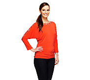 Susan Graver Liquid Knit Beaded Dolman 3/4 Sleeve Top - A255384
