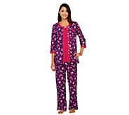 Carole Hochman Cotton Jersey Tossed Roses 3 Piece Pajama Set - A256284