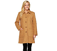 Denim & Co. Woven Boucle Coat with Button Front - A259284