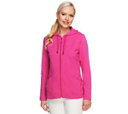 As Is Susan Graver French Terry Long Sleeve  Zip Front Jacket - A259384