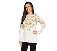 Susan Graver Bateau Neck Long Sleeve Jacquard Sweater - A259584