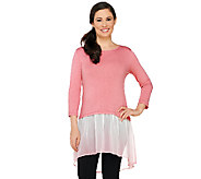 LOGO by Lori Goldstein Slub Knit Top with Ombre Chiffon Hem - A261084