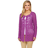 Liz Claiborne New York Hand Crochet Mixed Stitch Cardigan - A262184