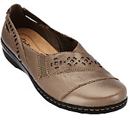 As Is Clarks Leather Slip-on Shoes - Evianna Fig - A267684