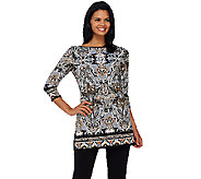 Susan Graver Printed Liquid Knit 3/4 Sleeve Tunic - A267984