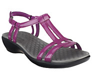 As Is Clarks Patent T-Strap Sandals - Sonar Aster - A270084