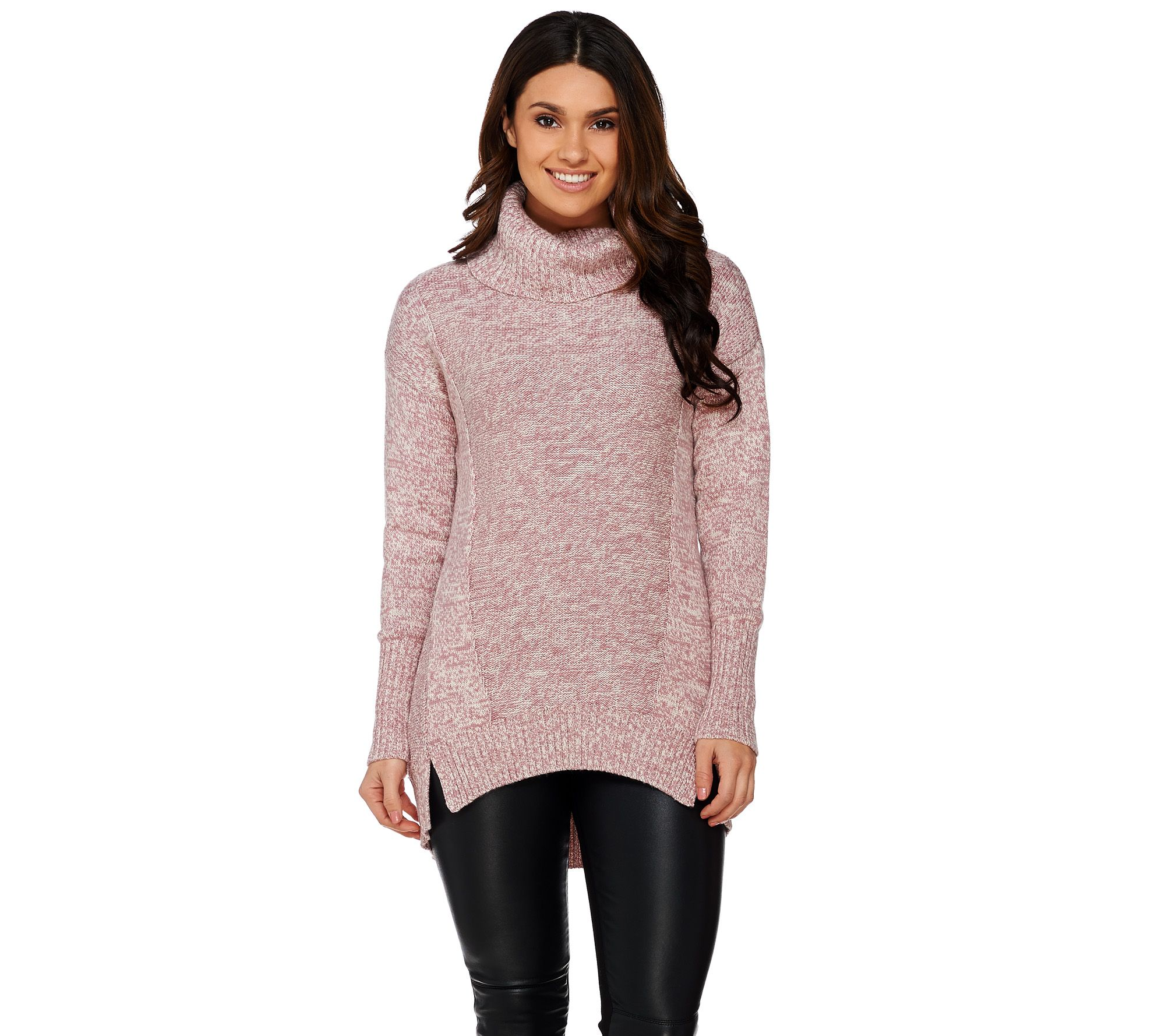 H by Halston Marled Long Sleeve Turtleneck Sweater - A271084