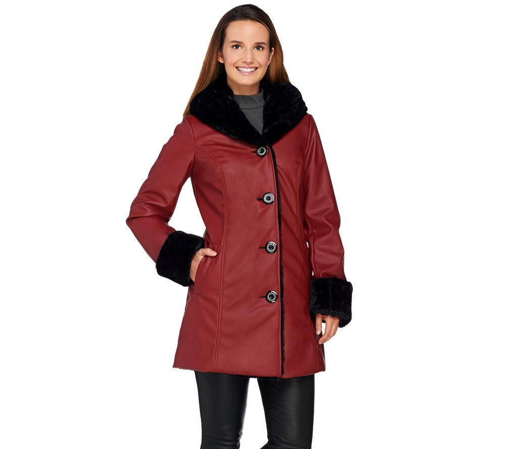 Dennis Basso Faux Leather Coat with Faux Fur Lining & Trim - Page ...