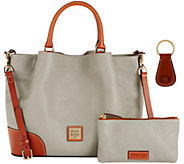 Dooney & Bourke Pebble Leather Brenna Satchel with Accessories - A272384