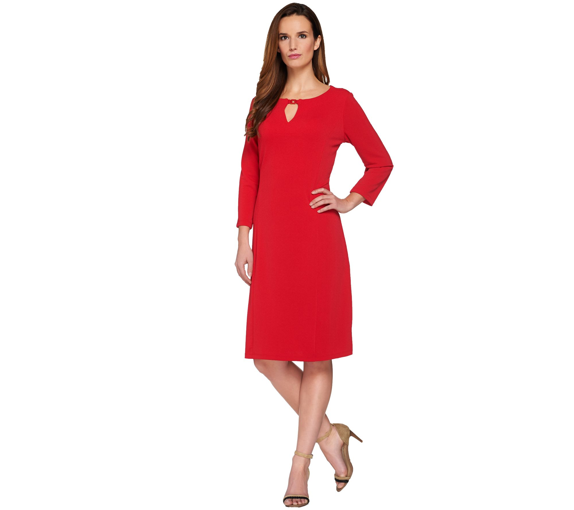 Susan Graver Passport Knit 3/4 Sleeve Dress with Keyhole - A273484