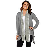 LOGO by Lori Goldstein Knit Cardigan with Ombre Chiffon Trim - A274084