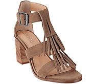 Sole Society Suede Fringe Block Heel Sandals - Delilah - A274484