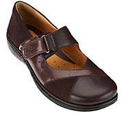 As Is Clarks Un.Structured Leather Mary Janes w/ Adj. Strap - Un.Swan - A278684
