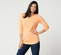Isaac Mizrahi Live! Essentials Pima Cotton 3/4 Sleeve Tunic - A278784