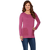 As Is LOGO by Lori Goldstein Knit Top with Brushed Lace Pockets - A280684