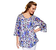 As Is Isaac Mizrahi Live! Dolman Sleeve Floral Print Tunic w/ Tank - A282684