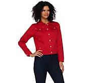 As Is Quacker Factory Cropped Woven Jacket with Rhinestone Buttons - A285084