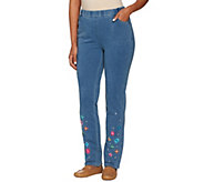 As Is Quacker Factory DreamJeannes Slim Leg Pants w/Flower - A286084