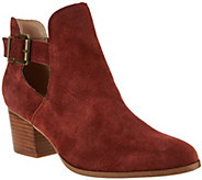 As Is Sole Society Suede Cut-Out Ankle Boots - Olive - A289884