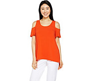 H by Halston Jet Set Jersey Cold Shoulder Knit Top - A290684