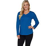 As Is Denim & Co. Active Waffle Knit V-Neck Top with Front Seam - A291884