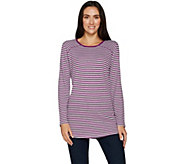 Denim & Co. Active Striped Waffle Knit Long Sleeve Tunic - A297784