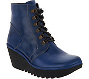 FLY London Leather Lace-up Wedge Ankle Boots - Yarn - A298284