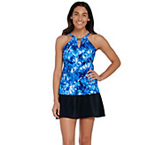 DreamShaper by Miraclesuit Aria High-Neck Tankini Skort Swimsuit - A303884