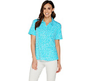 Denim & Co. Printed Short Sleeve Polo Top with Pocket Detail - A304984
