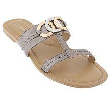 Tignanello Leather Sandals w/Circle Detail