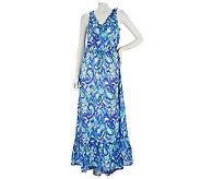 Isaac Mizrahi Live! Paisley Print Maxi Dress with Ruffle Neckline - A225085