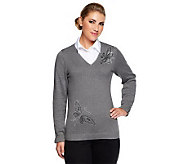 Quacker Factory Woven Collar Duet Sweater w/ Rhinestone Butterflies - A225785