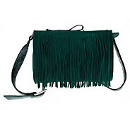 B. Makowsky Double Zip Top Gusseted Crossbody Bag w/Fringe Detail - A226185