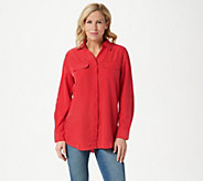 Denim & Co. Roll Tab Sleeve Button Front Soft Utility Tunic - A227885
