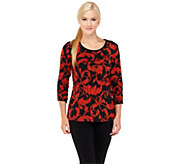 Susan Graver Liquid Knit Printed Top with Ruched 3/4 Sleeves - A237685