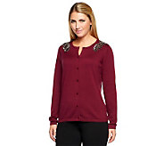 Joan Rivers Long Sleeve Knit Cardigan with Beaded Shoulder Detail - A239585