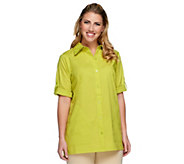 Joan Rivers Perfectly Tailored Boyfriend Shirt w/  3/4 Sleeves - A251585