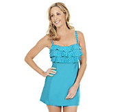 Liz Claiborne New York Tossed Dot Ruffled Swim Dress - A253385