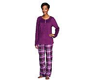 Carole Hochman Pajama Set with Fleece Top and Flannel Pants - A256285