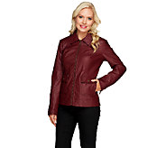 Dennis Basso Faux Leather Bomber Jacket - A258485