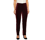 Susan Graver Knit Velvet Slim Leg Pull-On Pants - A259585