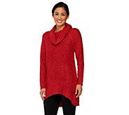 Denim & Co. Boucle Cowl Neck Sweater w/ Hi-Low Hem - A260385
