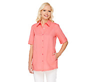 Joan Rivers Classic Short Sleeve Boyfriend Shirt - A261885