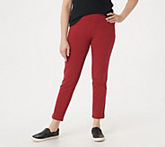 Denim & Co. How Comfy Slim Leg Ankle Pant w/ Roll Cuff - A262785
