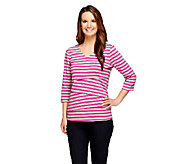 As Is Denim & Co. Tiered Striped Knit 3/4 Sleeve V-Neck Top - A263785